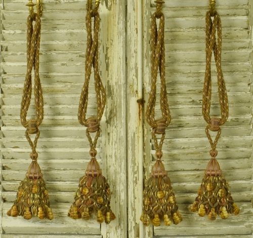 B1138 - Fantastic Set 4 Antique French Chateau Curtain Tie Backs, Gorgeous Tassels 19thC