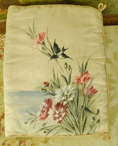 B1140 - Divine Antique French Hand Painted Pink Silk Lingerie Case, Hirondelle & Flowers