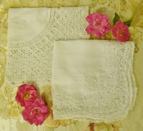 B1141 - TWO Beautiful Fine Lawn & Lace Antique French Monogrammed Dowry Handkerchiefs