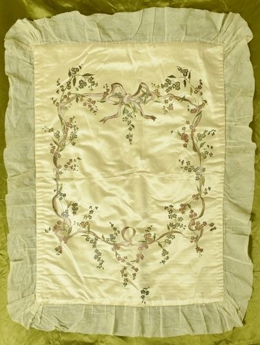 B1142 - Beautiful Antique French Hand Painted Silk Baby Coverlet, Ribbon, Bow & Flowers