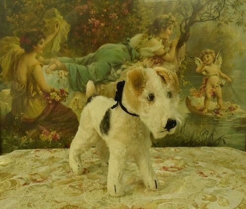 B1143 - Adorable Vintage French Plush Toy Dog, Fox Terrier, Glass Eyes, Cute Face C1940