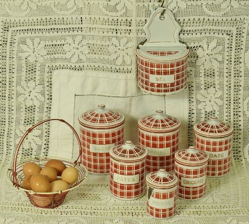 B1145 - Superb Set 7 Vintage French Enamel Kitchen Storage Canisters / Tins & Egg Basket
