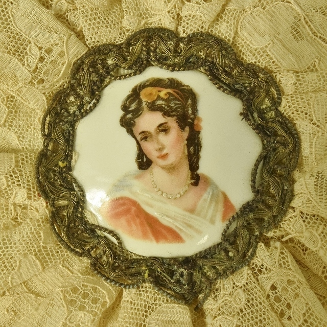 B1146 - Sublime Antique French Chocolate Box, Porcelain Plaque, Lace, Passementerie Trim