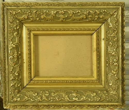 B1147 - Gorgeous Little Antique French Gilded Gesso On Wood Picture Frame With History
