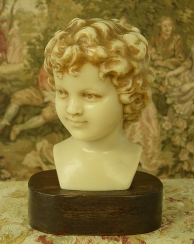 B1150 - Superb Antique French Wax Bust / Statue On Stand Young Boy With Curls C 1900