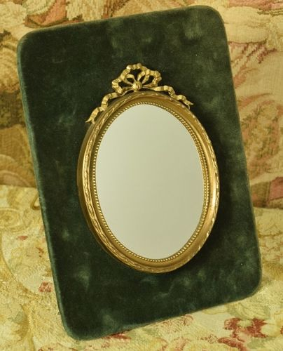 B1151 - Sublime Antique French Oval Vanity Mirror, Bow & Ribbon Tail Crest, Teal Velvet