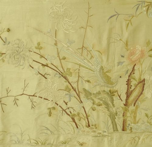 B1152 - Beautiful Large Panel 19th C Hand Embroidered Chinese Silk With Birds & Flowers