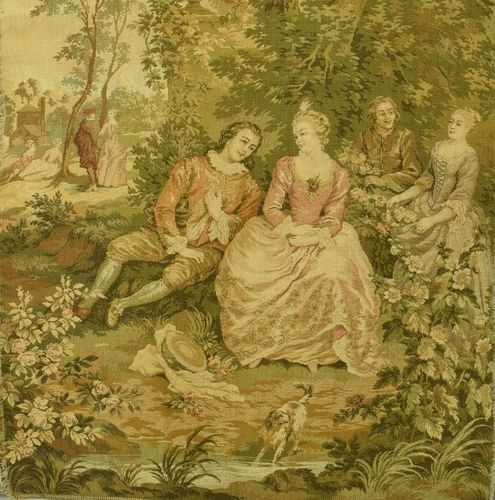 B1154 - Beautiful Vintage French Tapestry Wall Hanging, Romantic Chateau Jardin Scene