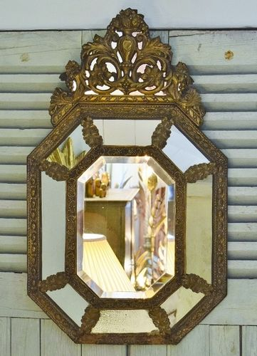 B1156 - Amazing Antique French Repousse / Toleware Rococo Style Cushion Mirror 19th C