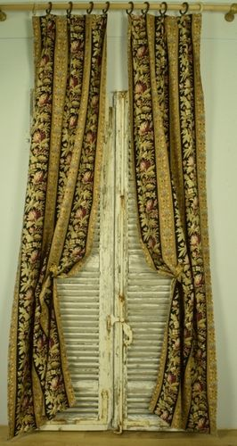 B1157 - Fabulous Long Pair Antique French Textured Cotton Curtains & Rings, Napoleon III