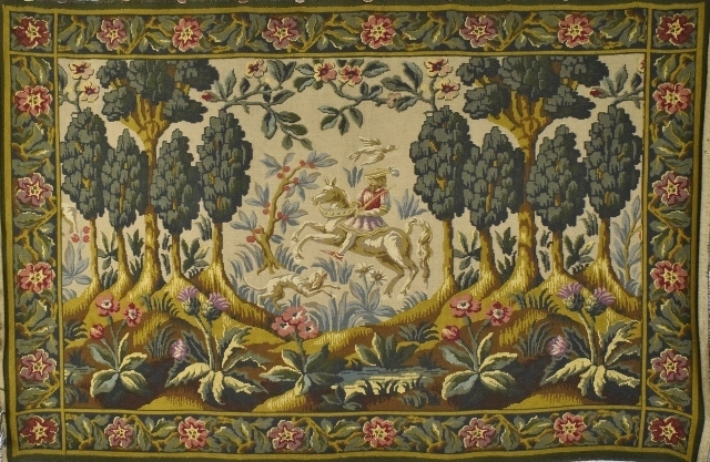 B1169 - Superb Vintage French 'Aubusson' Tapestry Wall Hanging, Medieval Country Scene