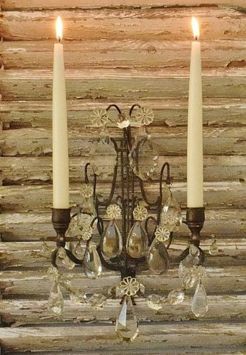 B1170 - Heavenly Antique French Two Arm Candle Wall Sconce With Crystals & Lyre Back