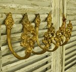 B1179 - Divine Set 4 Antique French Bow & Flower Garland Gilded Curtain Tie / Hold Backs