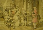 B1188 - Gorgeous Large Antique French Tapestry, 18th C Society Scene After Marchetti