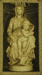 B1196 - Stunning Vintage French Tapestry, Architectural Religious Statue Madonna & Child