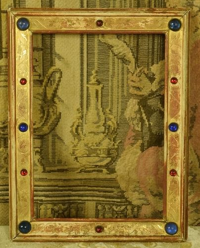 B1197 - Amazing Antique French Gilded Ecclesiastical Picture Frame With Cabochons 19th C