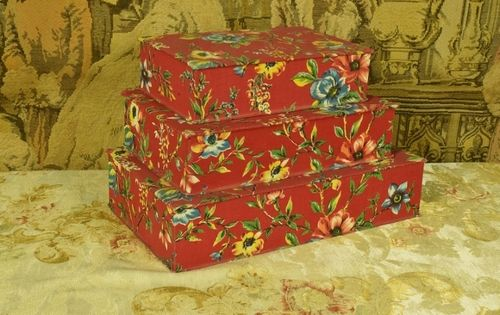 B1199 - Sublime Set 3 Antique French Textile Boudoir Boxes, Stunning Florals, C1920/30