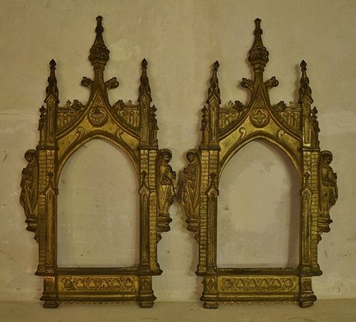 B1201 - Amazing Pair Antique French Gilded Architectural Church Picture Frames, 19th Century