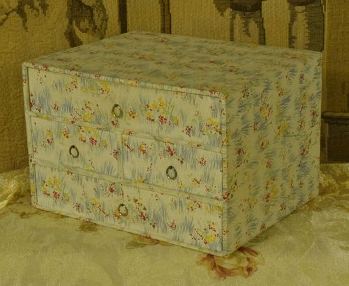 B1202 - Divine Antique French Textile Covered Boudoir Box With 4 Drawers, Circa 1930