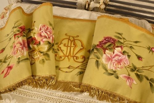 B1207 - Gorgeous Antique French Hand Painted Church Pelmet Gold Fringed Passementerie