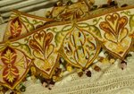 B1208 - Stunning Long Antique French Silk Needlepoint Church Pelmet With Silk Bobbles