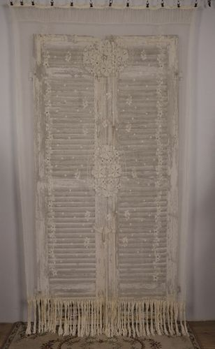 B1211 - Gorgeous Antique French Fine Tulle Embroidered Lace, Long Fringed Curtain Circa 1900