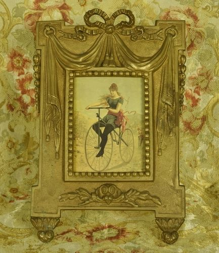 B1212 - Magnificent Antique French Heavy Brass Picture / Photo Frame, Bow, Ribbon, Swags