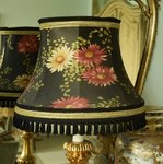 B1213 - Glamourous 1950's Vintage French Silk Floral Lampshade, PARIS Label, Tres Chic