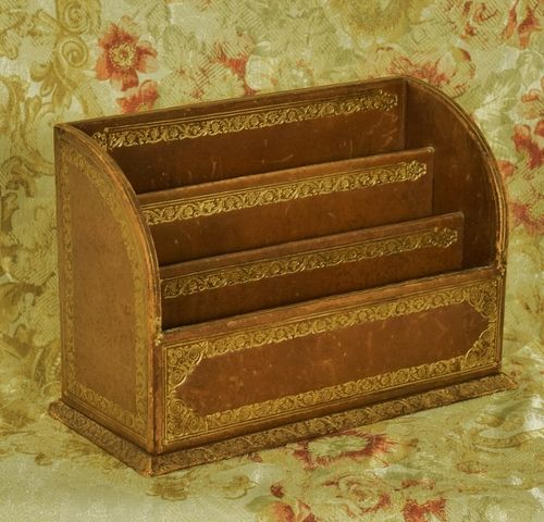 B1215 - Superb Antique French Tooled Leather Letter Rack / Desk Tidy, Executive Gift