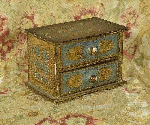 B1219 - Gorgeous Vintage Italian Gilded Miniature Chest of Drawers, Trinket / Jewel Box