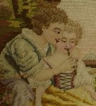 B1220 - Exquisite PAIR Romantic Antique French Hand Worked Needlepoint / Tapestry Panels