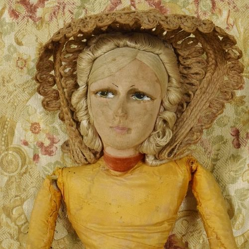 B1165 - Delightful Antique French Boudoir Doll, Beautiful Face & Straw Bonnet, Circa 1920