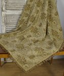B1222 - Divine Antique French Roses Tapestry Tablecloth / Throw, Tasseled Passementerie