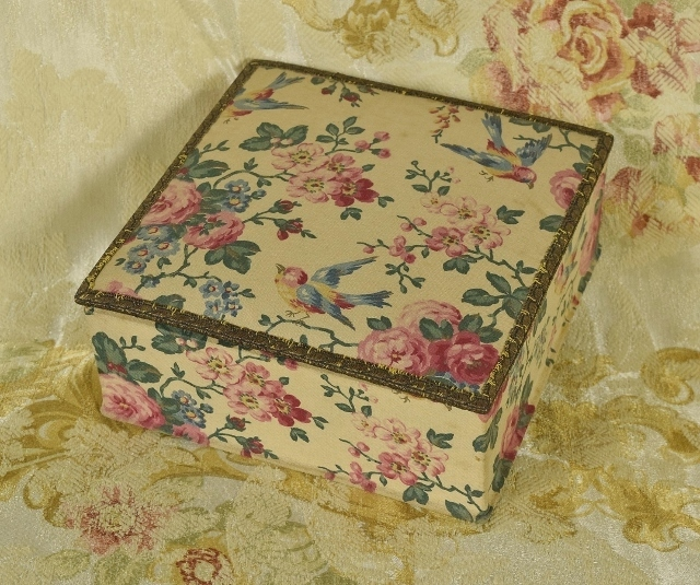 B1223 - Divine Antique French Hirondelle Textile Covered Boudoir Box, Wire Passementerie