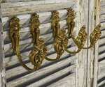 B1224 - Superb Set 4 Antique French Acanthus Leaf & Rose Gilded Curtain Tie / Hold Backs