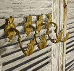 B1226 - Beautiful Set 4 Antique French Acanthus Leaf Gilded Curtain Tie / Hold Backs