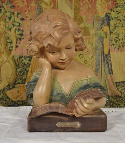 "B1239 - Gorgeous Antique French Plaster Bust, ""A L'Etude"", Girl At Study, Early 1900's"