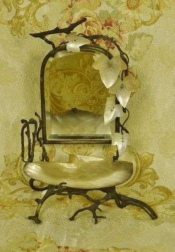 B1241 - Fantastic Antique French Vanity Mirror, Mother Of Pearl Shell, 19th Century Souvenir