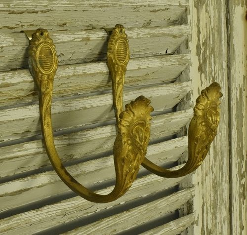 B1248 - Elegant Pair Antique French Gilded Metal Curtain Tie / Hold Backs 19th Century