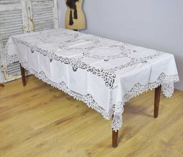 B1247 - Exquisite Antique French Hand Made Lace & Embroidered Linen Tablecloth, 19th Century