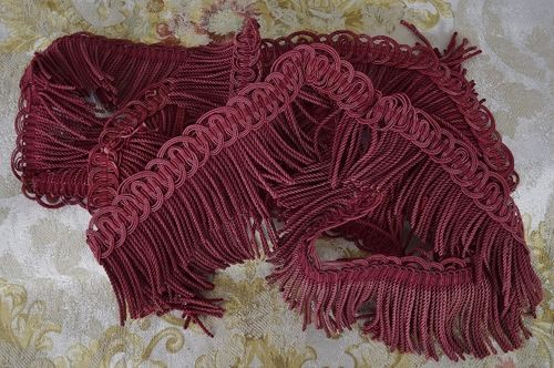 B1258 - 3 Lengths Divine Antique French Silk Serpentine Fringed Passementerie/ Braid