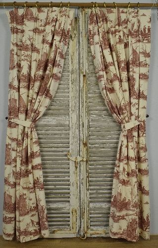 B1260 - Stunning Pair Long Vintage French Toile Curtains, Antique Rings & Sewn Tie Backs