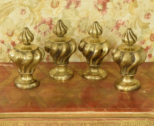 B1262 - Fabulous Set 4 Antique French Brass Curtain Pole Finials, Tres Chateau Chic
