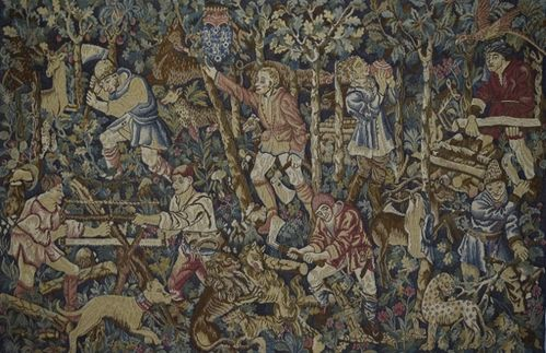 B1266 - Fantastic Vintage French Woven Tapestry Wall Hanging,  Medieval Woodsmen Scene