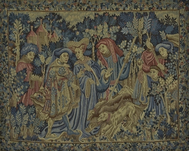 B1267 - Superb Vintage French Woven Tapestry Wall Hanging, Medieval Gentry Hunting Scene