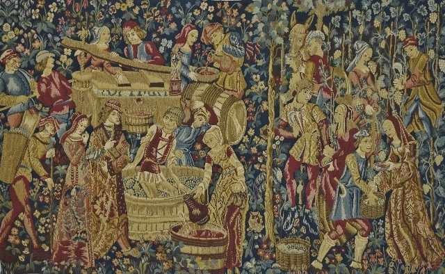 B1268 - Stunning Vintage French Woven Tapestry Wall Hanging 'Les Vendanges' de Cluny