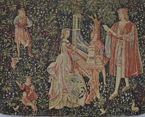 B1269 - Impressive Vintage French Printed Woven 'Tapestry' Wall Hanging, Medieval Scene