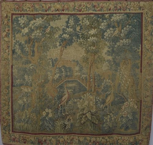 B1270 - Gorgeous Vintage French Printed Woven Linen 'Medieval Tapestry' Wall Hanging