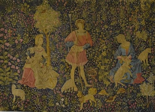 B1276 - Sublime Vintage French Printed Linen Wall Hanging, After 16th C Medieval Tapestry