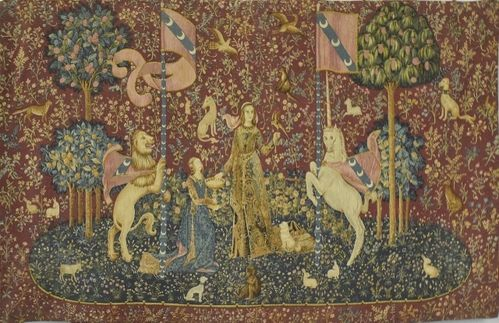 B1277 - Fabulous Vintage French Printed Linen Wall Hanging,  Lady & The Unicorn 'Taste'